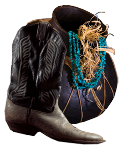 pot with turquoise strand and cowboy boot